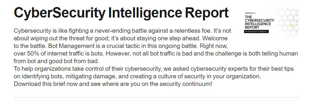 CyberSecurity Intelligence Report